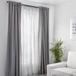 IKEA Nordis white sheer floral curtains 2 pack